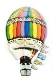 Hand-Painted Hot Air Balloon, Magnet, Ornament