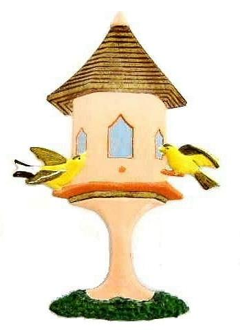 Birdhouse, Hand-Painted Magnet - Ornament