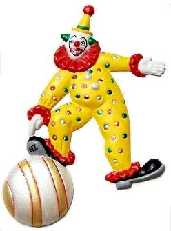 Clown Playful, Hand-Painted Magnet - Ornament
