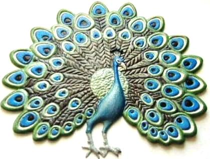 Peacock, Hand-Painted Magnet - Ornament