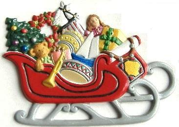 Sleigh, Custom Hand-Painted Magnet - Ornament