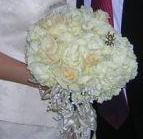 Bridal bouquet with a bumble bee custom-painted by LSC Creations