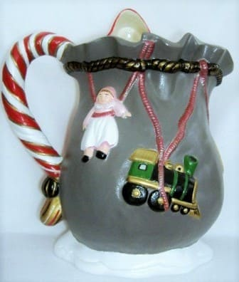 Santa Pitcher Ceramic Hand-Painted - Click Image to Close